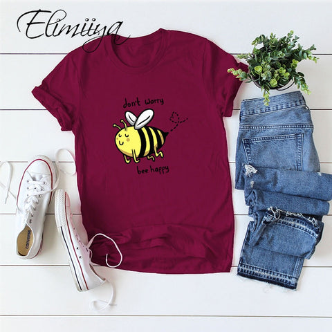 Elimiiya New Bee Happy Print T Shirt Women Short Sleeve Losse Funny Tee 4XL 5XL Oversized O-Neck Tops Shirts