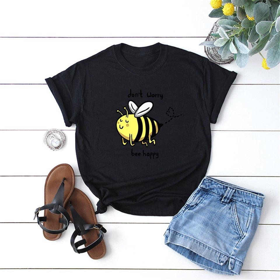 Elimiiya New Bee Happy Print T Shirt Women Summer Clothes 2020 Short Sleeve Losse Funny Tee 4XL 5XL Oversized O-Neck Tops Shirts