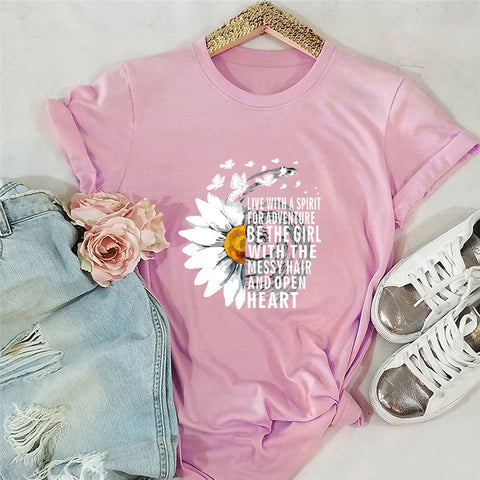 Elimiiya 100 Cotton T Shirt Women Chrysanthemum Print t-shirt Short Sleeve Graphics TShirts Tops Tees slippers woman summer 5XL