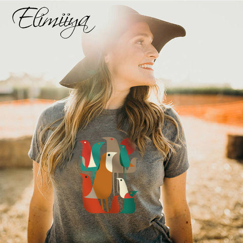 Elimiiya Summer Colorful Bird Print Fashion T shirt Ladies Clothes Harajuku Casual T-shirt Female Top Streetwear Clothing
