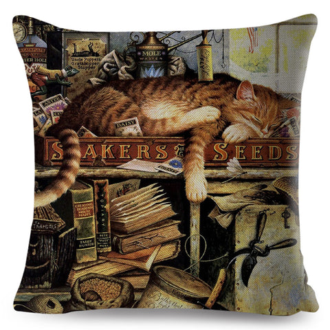 Cute Cat Cushion Cover - Cartoon Animal Pillow Case