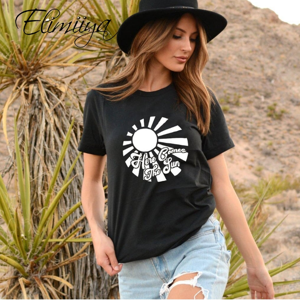 Elimiiya Sun Women's T-Shirt 100 Cotton New Rock Style Fashion Female Loose Short Sleeve Print T Shirt Tops Womens Clothing