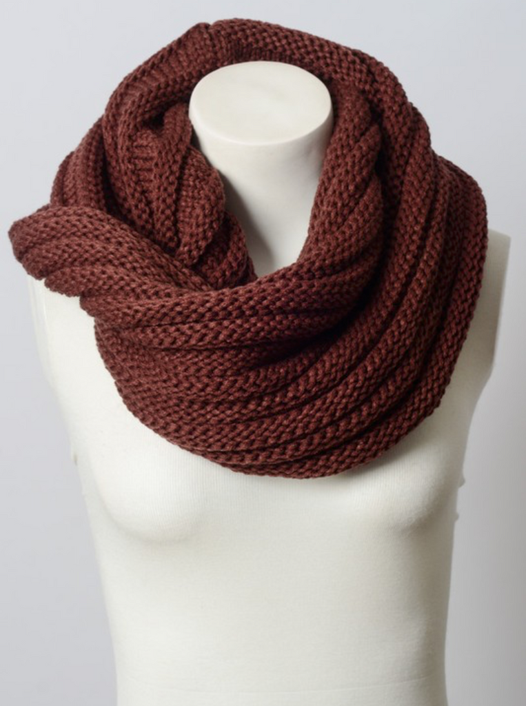 Simple Soft Burgundy Ribbed Infinity