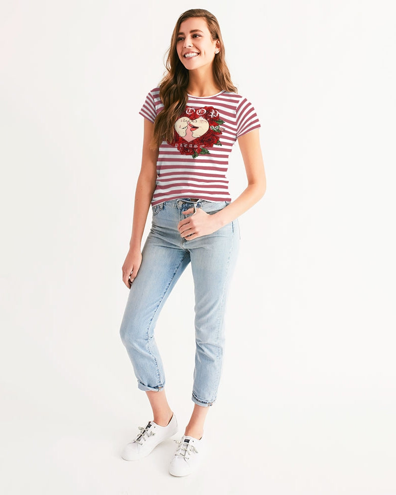 Red Stripes on White Women's Tee