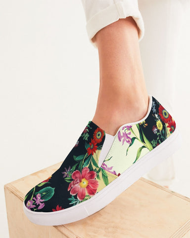 Flowers Botanic Two Tone Women's Slip-On Canvas Shoe