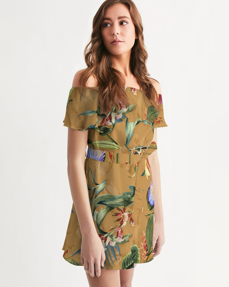 Retro Flowers Pattern Women's Off-Shoulder Dress