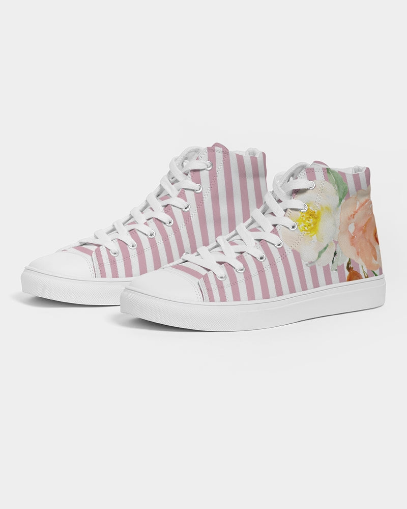 Pink Stripes Women's Hightop Canvas Shoe
