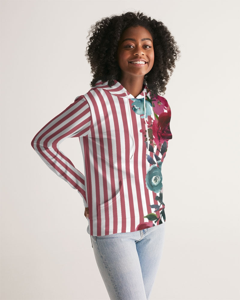 Red Stripes on White Women's Hoodie