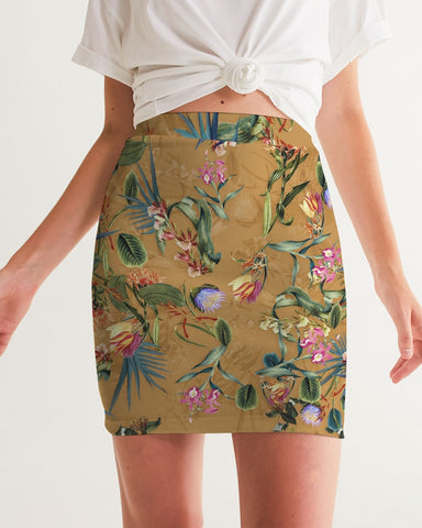 Retro Flowers Pattern Women's Mini Skirt
