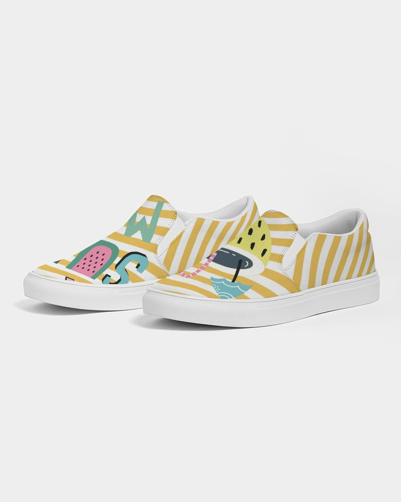 Yellow Stripes on White Women's Slip-On Canvas Shoe