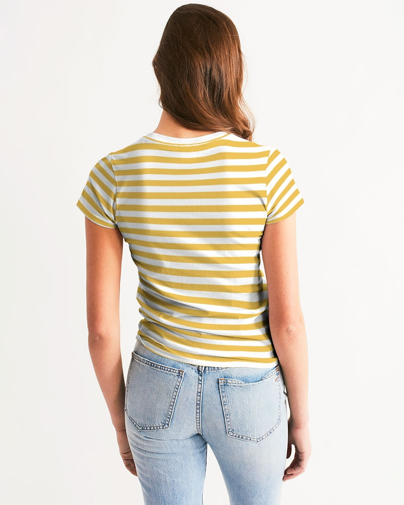 Yellow Stripes on White Women's Tee