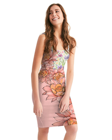 water color orchis Women's Midi Bodycon Dress