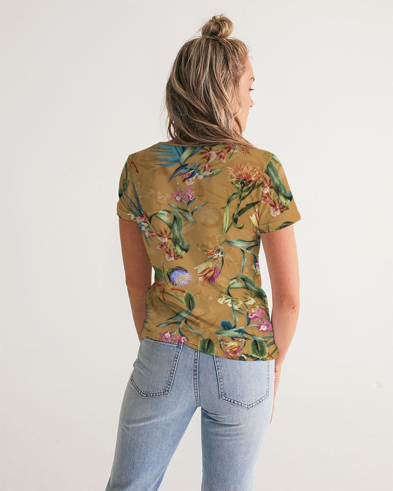 Retro Flowers Pattern Women's V-Neck Tee