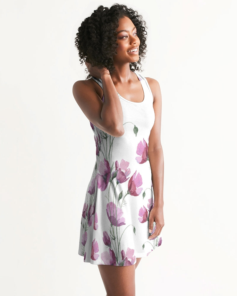 Watercolor Flower purple Women's Racerback Dress