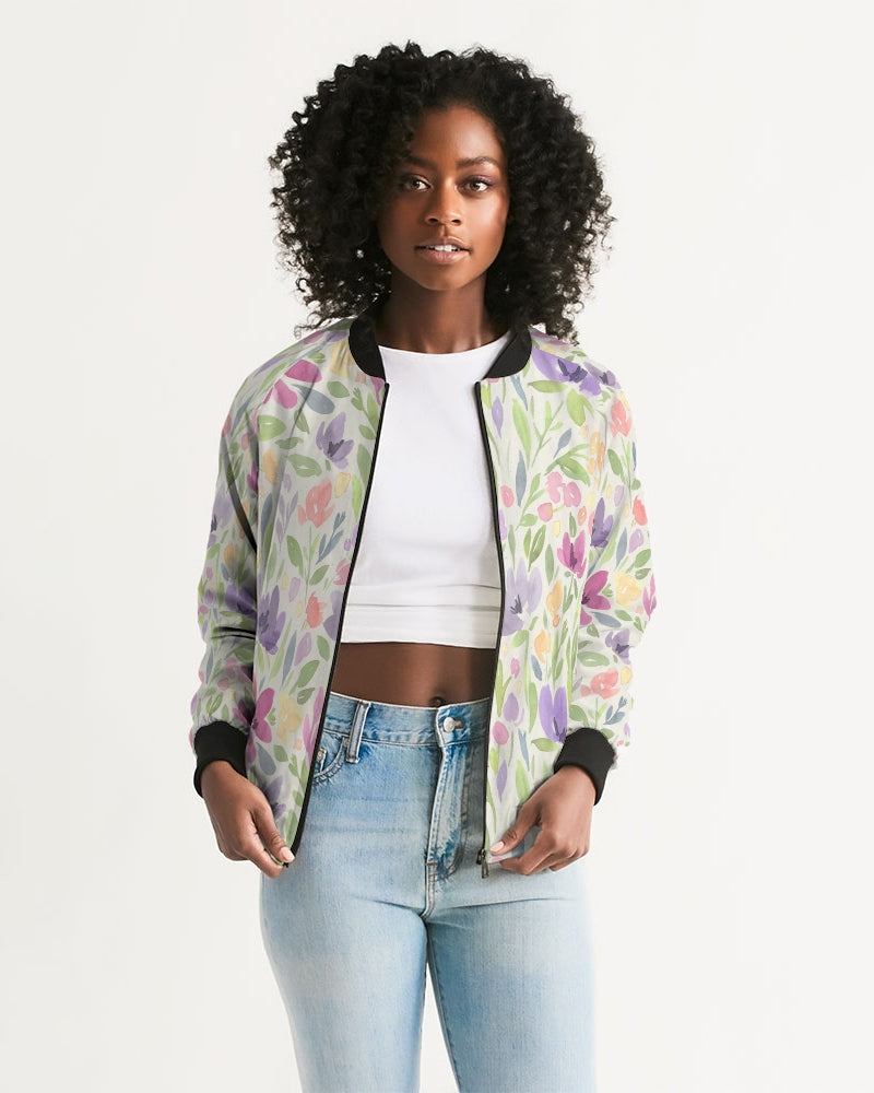 water color orchis Women's Bomber Jacket