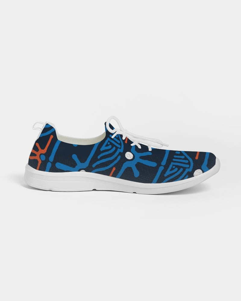 Hand Made Tribal Pattern Dark Blue Women's Lace Up Flyknit Shoe