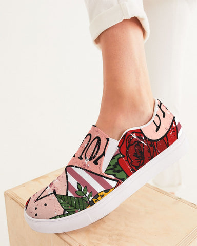 Red Stripes on White Women's Slip-On Canvas Shoe