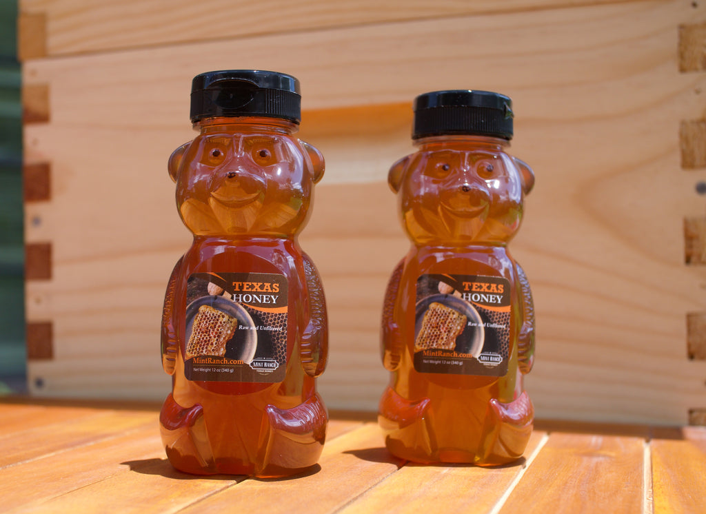 100% Pure, Raw & Unfiltered Texas Honey 12oz. Squeeze Bottle (2 Bottles)