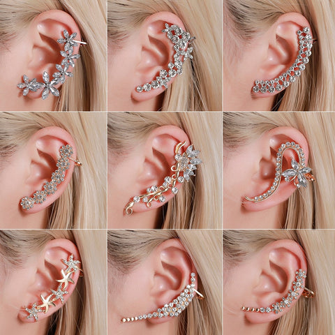 Bohemian NO Piercing Crystal Rhinestone Ear Cuff Wrap Stud Clip Earrings