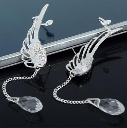 2019 New Silver Plated Angel Wing Stylist Crystal Earrings Drop Dangle Ear Stud For Women Long Cuff Earring Bohemia Jewelrys