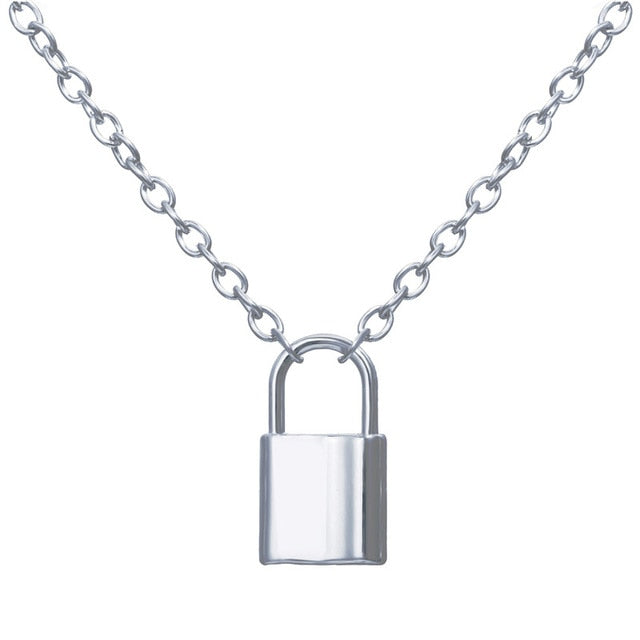 Punk Chain Golden/Silver Color With Lock Necklace For Women Men Padlock Pendant Necklace 2019 Statement Gothic Fashion Jewelry