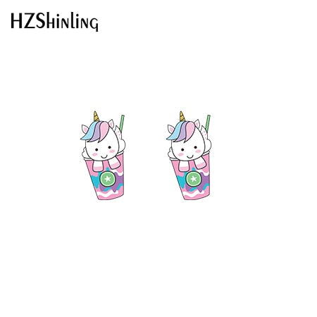2019 New Cute Unicorn Acrylic Earring Baby Unicorn Resin Earring Epoxy Art Stud Earrings Gifts