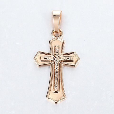 Cross Crucifix Clear Crystal Pendant Necklace for Men Women 585 Rose Gold Prayer Jesus Snail Link Chain Wholesale Jewelry GPM26