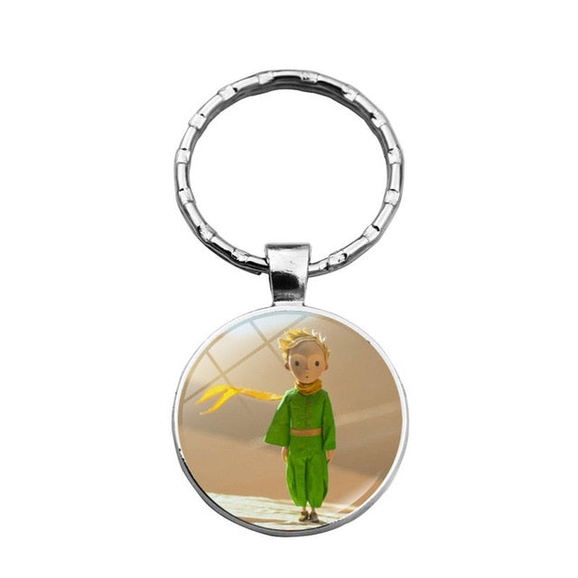 Le Petit Prince B-612 Planet The Little Price Fox Rose Classical Fairy Tale Glass Ball Douside Keychain