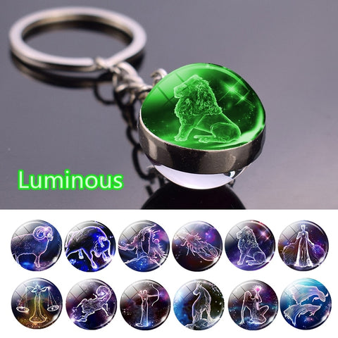 Constellation Luminous Keychain Glass Ball Pendant Zodiac Keychain