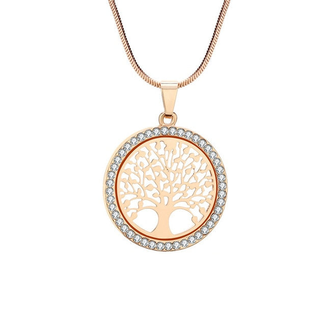 Hot Tree of Life Crystal Round Small Pendant Necklace Gold Silver Color Bijoux Collier Elegant Women Jewelry Gifts
