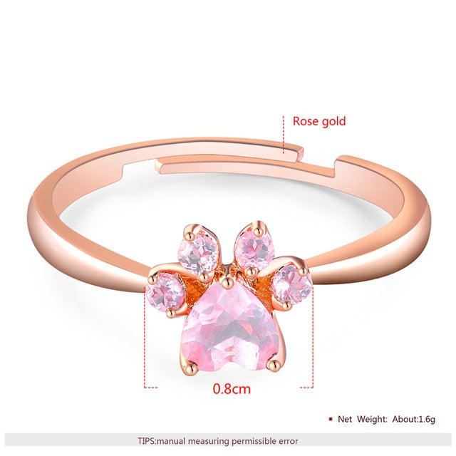 BOAKO Rose Gold Color Cute Dog Cat Paw Stud Earrings
