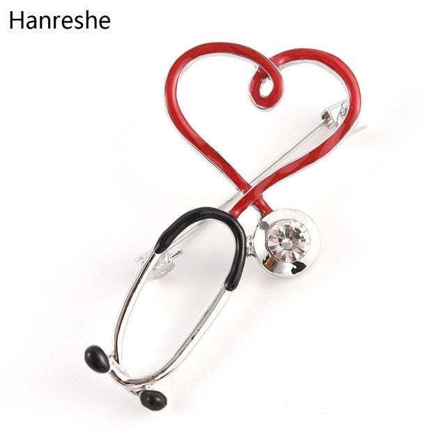 2020 New Hot Sale Medical Medicine Brooch Pin Stethoscope Electrocardiogram Heart Shaped Pin Nurse Doctor Backpack Lapel Jewelry