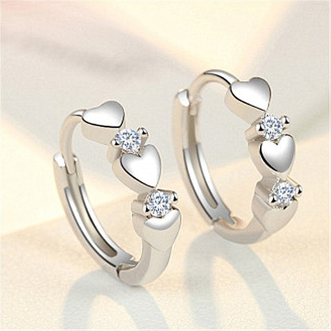 Luxury New 2020 Stud Earrings Crystal Zircon Row Silver Color Huggie Earrings For Women Female Brincos oorbellen