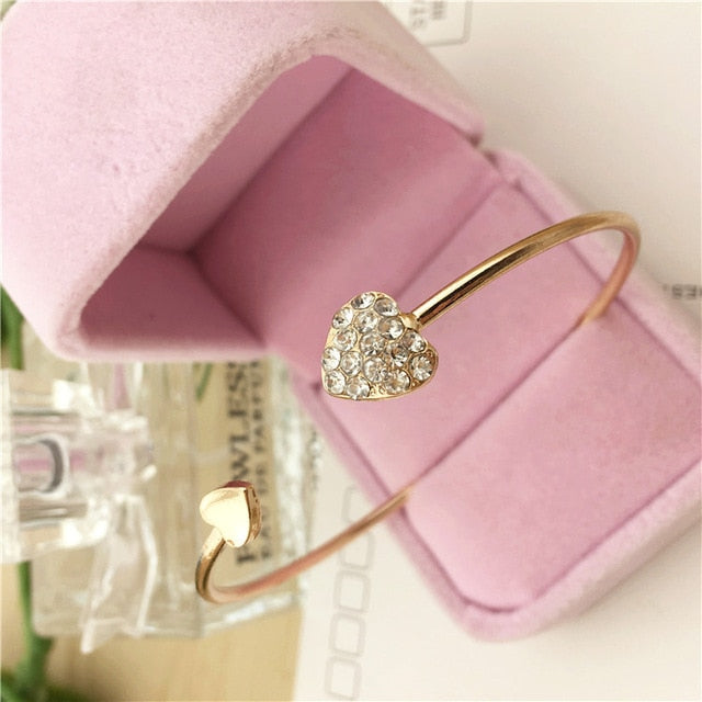 2020 Hot New Fashion Adjustable Crystal Double Heart Bow Bilezik Cuff Opening Bracelet For Women Jewelry Gift Mujer Pulseras 7g