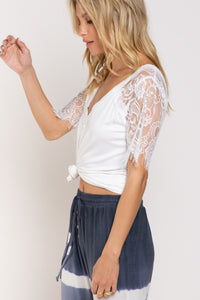 Somebody to Love Lace Sleeve Tee - Ivory