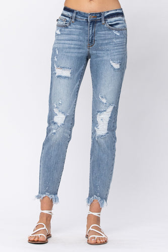 Judy Blue Destroyed Hem Bleach Splash Boyfriend Jeans