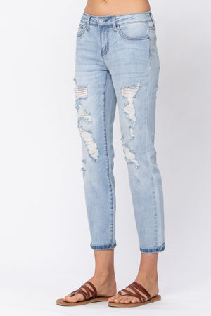 Judy Blue Destroyed Mid-Rise Boyfriend Jeans