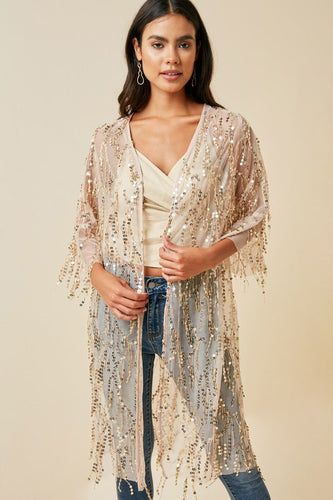 Dreamed of This Love Sequin Kimono - Champagne