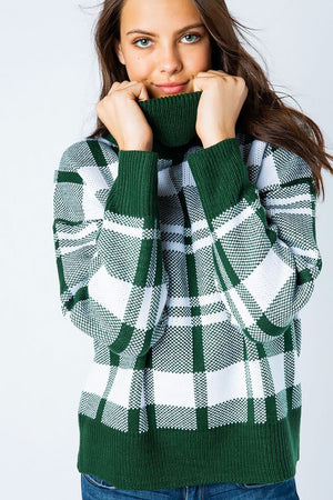 Winter Night Escape Turtleneck Sweater - Green