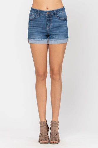 Judy Blue Medium Wash Cuffed Hem Shorts