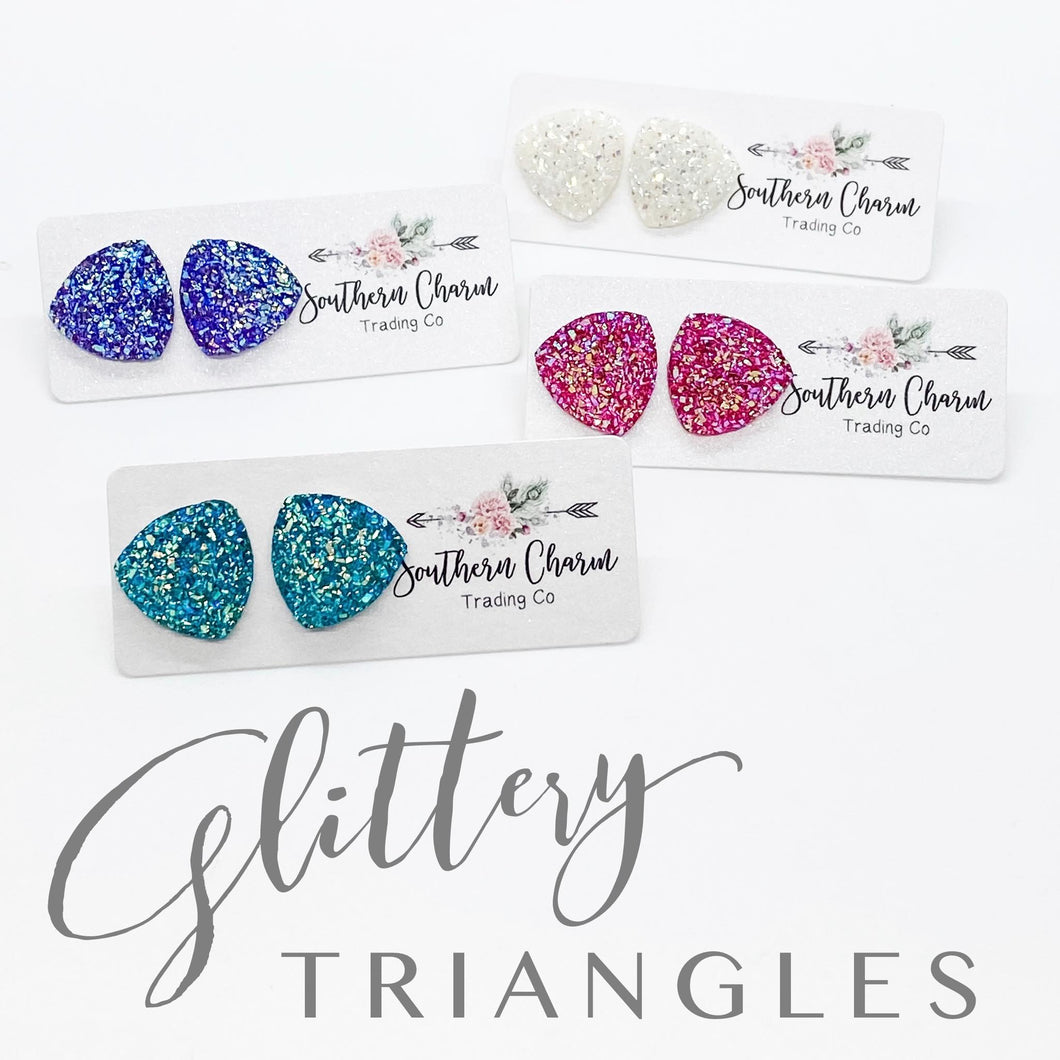 Glittery Triangle Earrings - Hot Pink