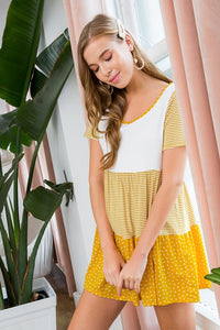Thinking About You Tiered Tunic Dress - Mustard