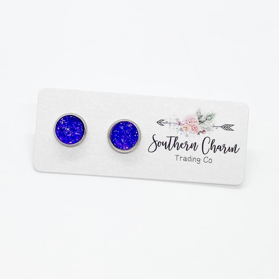 Mini Deep Purple Stud Earrings