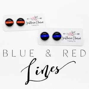 Red Line on Black Stud Earrings