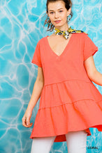 Load image into Gallery viewer, Rhythm Of Love Tiered Tunic - Coral
