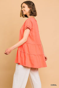 Rhythm Of Love Tiered Tunic - Coral