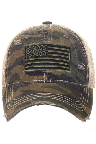 CC Brand - Distressed American Flag High Pony Ball Cap - Olive Camo