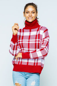 Winter Night Escape Turtleneck Sweater - Red