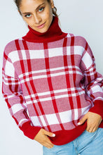 Load image into Gallery viewer, Winter Night Escape Turtleneck Sweater - Red