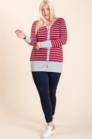Headed Out Striped Cardigan - Wine - Curvy Exclusive